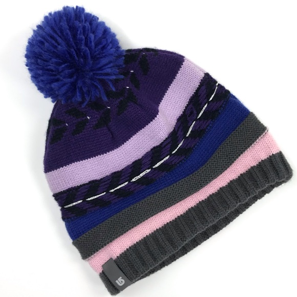 876572d9b98 Burton Classic Multi Stripe Pompom Knit Beanie Hat